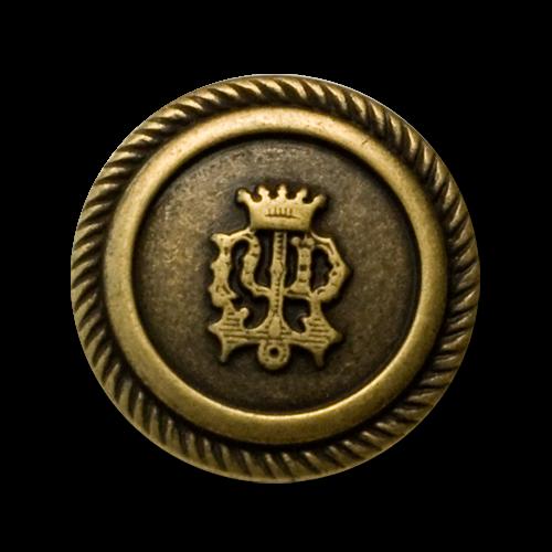 Edle Blazerknöpfe mit Wappen und Krone in matt altmessing