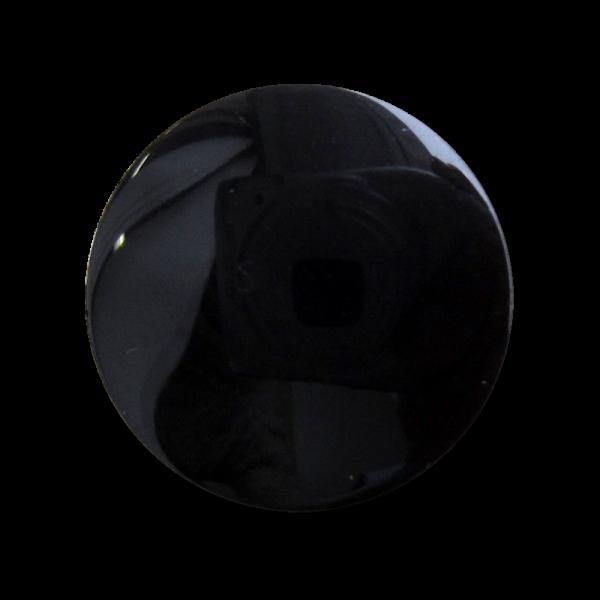 Schlichter schwarz glänzender Ösen Kunststoff Knopf