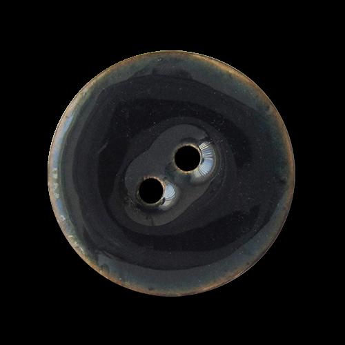 www.knopfparadies.de - 1518bl - Leichte, dunkelblau lackierte Kokosnussknöpfe