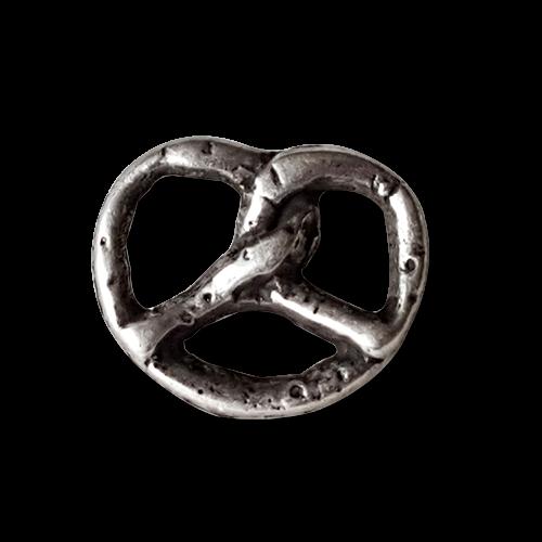 www.knopfparadies.de - 1345br - Echt versilberte Metallknöpfe: Kleine Brezel