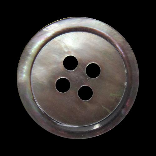 www.Knopfparadies.de - 1568br - Braun grau schillernde Vierloch Perlmuttknöpfe