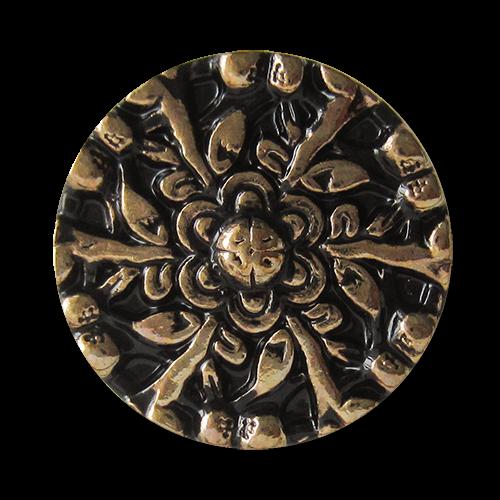 www.knopfparadies.de - 1528gs - Umwerfende Metallknöpfe mit Blumenmotiv