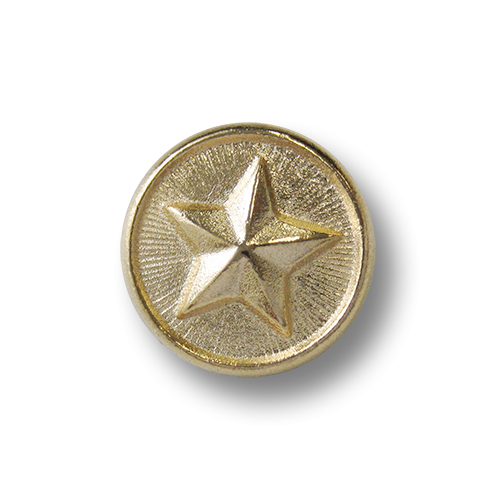www.knopfparadies.de - 2533hg - Hell goldfarbene Metallknöpfe mit Sternmotiv