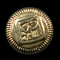 Goldfarbene Knöpfe mit Hieroglyphen