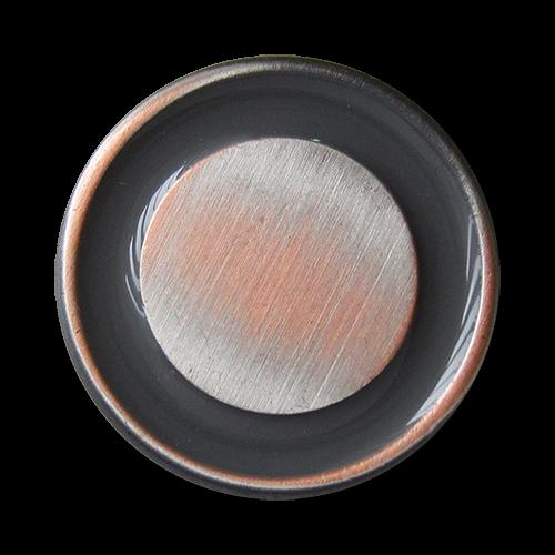 www.Knopfparadies.de - 4365gk - Moderne Metallknöpfe in Grau, Kupfer und Eisenfarben