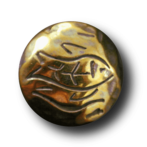 Metallknopf mit Fisch-Motiv