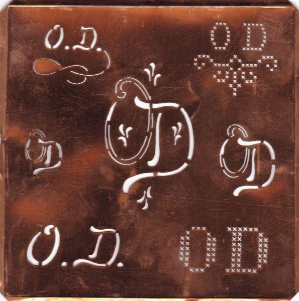 knopfparadies.de - OD-sch-111cu - Hübsche große Kupfer Schablone mit 7 Monogrammvariationen