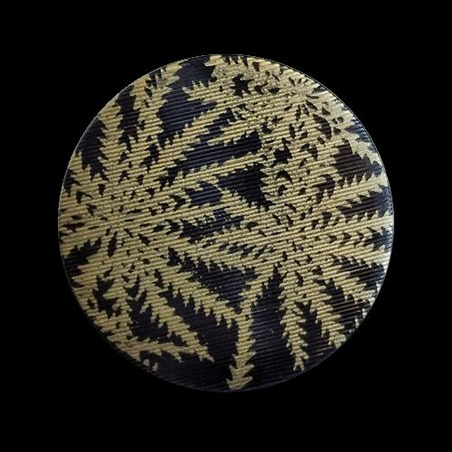 www.knopfparadies.de - 6139gs - Schwarz-goldfarbene Kunststoffknöpfe mit Palmenmuster