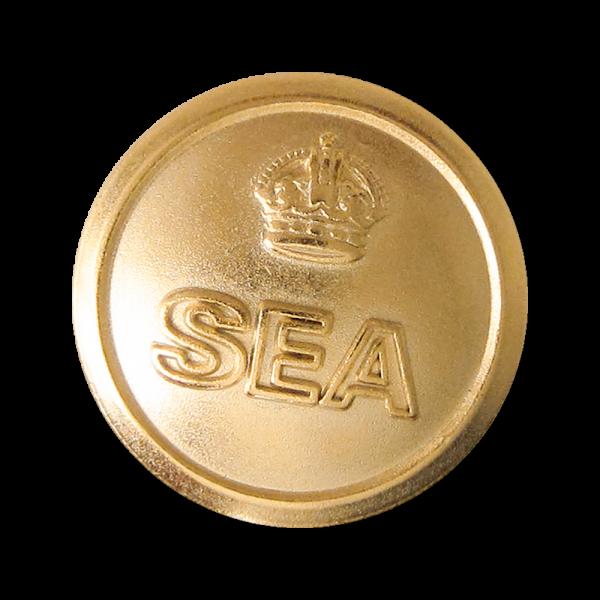 """Ösenknopf aus Metall in Gold mit Schriftzug """"SEA"""" & Krone"""