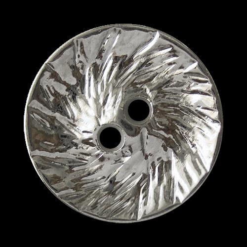 www.Knopfparadies.de - 1625si - Originelle silberfarbene Zweiloch Metallknöpfe mit strukturierter Oberfläche