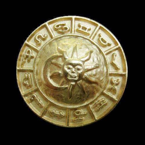 Goldfb. Metall Knopf mit Sonne, Mond & Sternzeichen