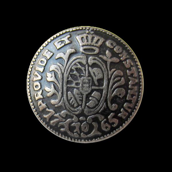 Edler alteisenfarbener Münz Metall Knopf mit Öse