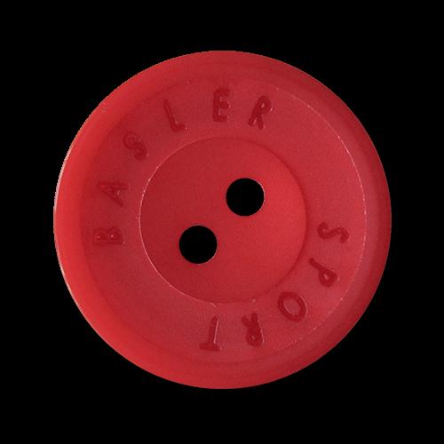 www.Knopfparadies.de - 2823ro - Sportive rote Zweiloch Kunststoffknöpfe mit Designer Logo