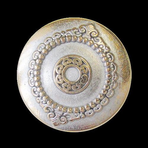 www.Knopfparadies.de - 5944bi - Historisch wirkende Ornamentknöpfe aus Metall in Bicoloroptik