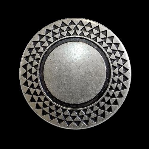 www.knopfparadies.de - 0592as - Altsilberfarbene Metallknöpfe mit graphischem Muster im Rand