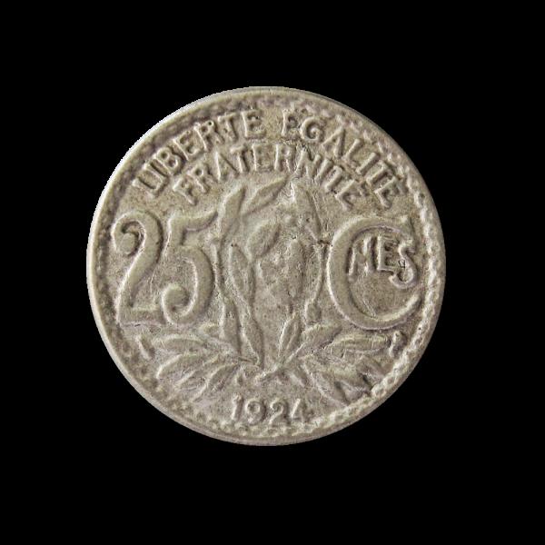 Flacher Metall Ösen Knopf wie frz. 25 Cent. Münze 1924