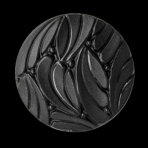 Nostalgischer schwarzer Ösen Knopf in Glas-Optik