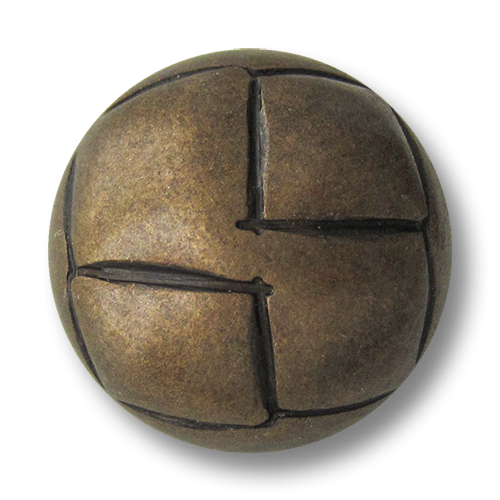 www.Knopfparadies.de - 2738bz - Altmessing bis bronzefarbene Metallknöpfe in Halbkugelform mit Rauten Muster
