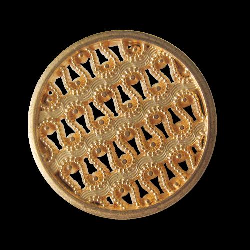 Bildschöner Metall Ösen Knopf mit filigranem Spitzen Muster in matt Goldfarben