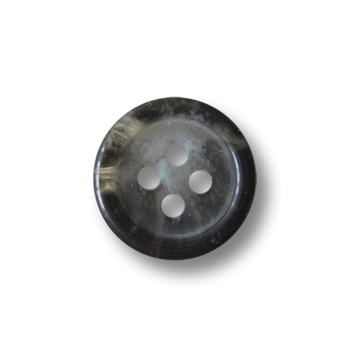 Kleiner Vierloch Knopf aus Kunststoff in Grau meliert