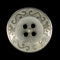 Edler Vierloch Metall Knopf mit Efeu & Ziergirlanden