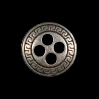 Eisenfarbener Metallknopf mit Mäanderborte