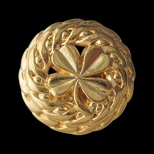 Sehr elegante goldfarbene Metall Ösen Knöpfe mit Klee