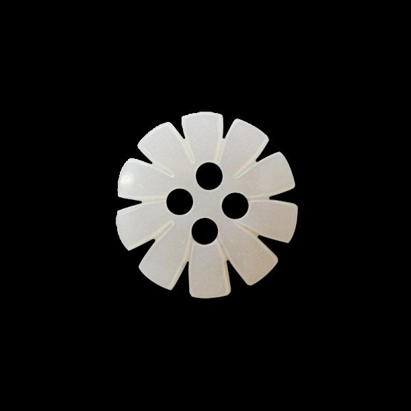 Kleiner Blumen Knopf in Perlmuttweiß aus Kunststoff mit vier Knopflöchern