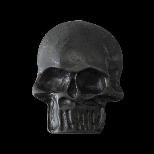 www.Knopfparadies.de - 1417sc - Große schwarze Totenkopf Knöpfe aus Metall
