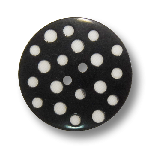 www.knopfparadies.de - 3942sw - Schwarze Kunststoffknöpfe mit weißen Punkten