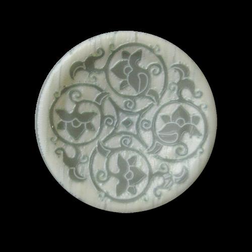 Bildschöne Kunststoff Ösen Knöpfe mit floralem Muster