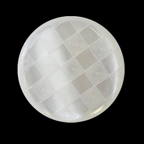 www.Knopfparadies.de - 5952we - Gemusterte Ösenknöpfe aus Kunststoff in weißer Perlmuttoptik