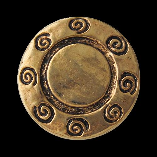 www.Knopfparadies.de - 0433ag - Älter wirkende goldene Metallknöpfe mit Spiral Muster