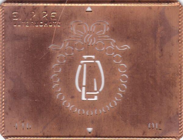Stilvolle Jugendstil Kupfer Schablone mit Kranz und Schleife - Rarität - OL