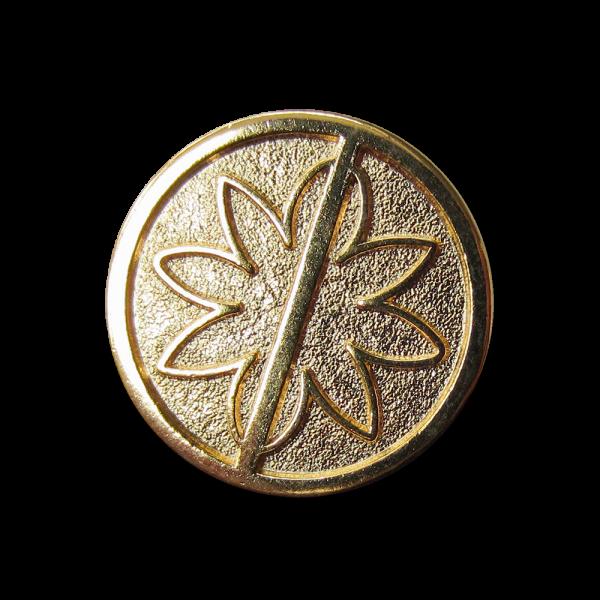 Moderner goldfb. Ösen Metall Knopf mit Blumen Motiv