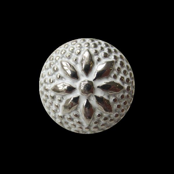 Nostalgischer Metall Knopf mit Blumen oder Stern Motiv