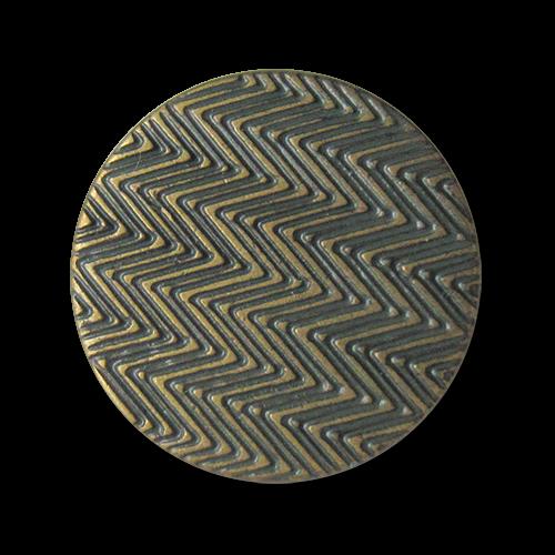 www.Knopfparadies.de - 3974gr - Tolle grün messingfarbene Ösenknöpfe aus Metall mit geometrischem Muster
