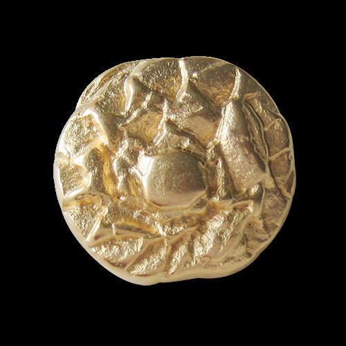 Große matt goldfarbene Metall Ösen Knöpfe mit abstraktem Muster