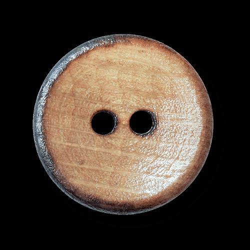 Echter Zweiloch Holz Knopf in Brandoptik