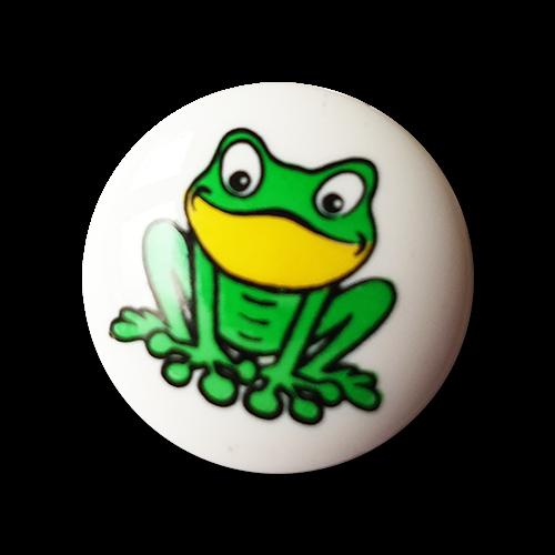 www.knopfparadies.de - k658 - Süsse Kinderknöpfchen mit Frosch Motiv
