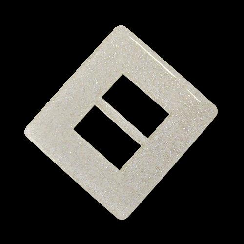 www.Knopfparadies.de - 3417we - Funkelnde weiße Kunststoffschnalle mit Glitzerpartikeln für Gürtel