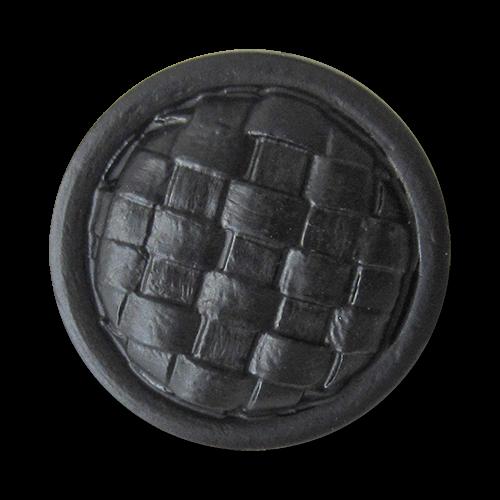www.Knopfparadies.de - 4420sc - Rustikale schwarze Kunststoffknöpfe mit Web Muster wie Lederknöpfe