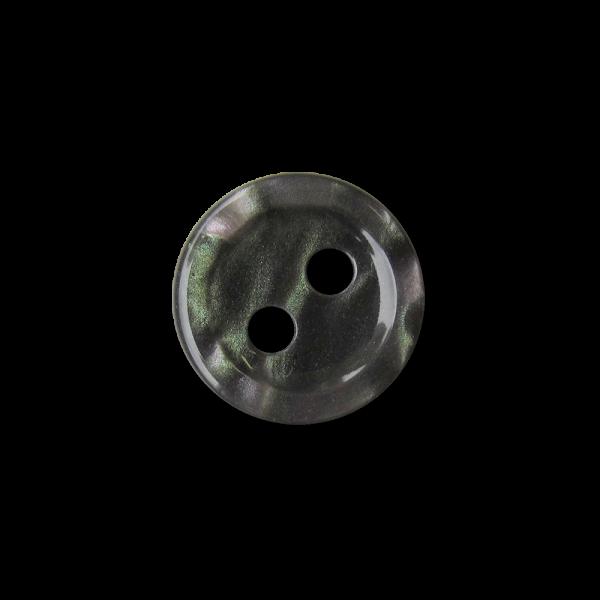 Hübsche kleine lila grün melierte Zweiloch Kunststoff Knöpfe in Perlmutt Optik