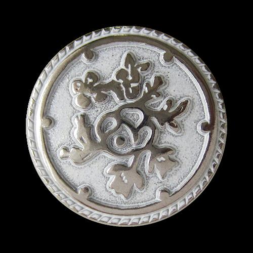www.Knopfparadies.de - 0576ws - Weiß silberne Metallknöpfe mit Blumen Muster