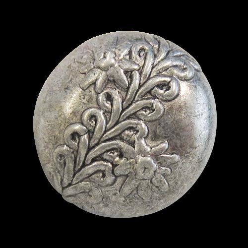 www.Knopfparadies.de - j006as - Altsilberne Metallknöpfe mit Bordüre und Edelweiß für Trachten