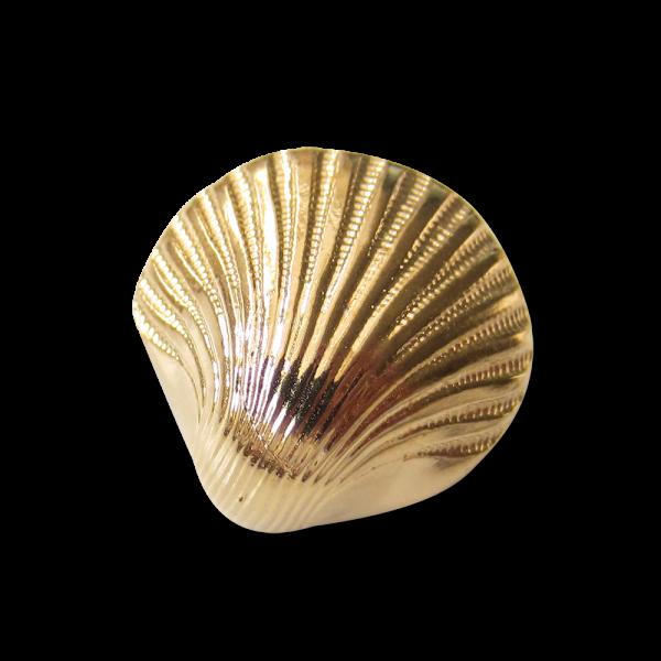 Glänzend hell goldfarbener Ösen Knopf in Muschel Form