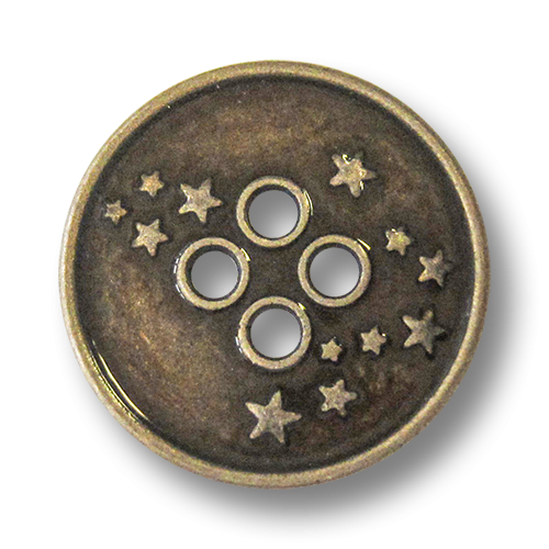 www.Knopfparadies.de - 4276dm - Freche Sternknöpfe aus Metall in Altmessing