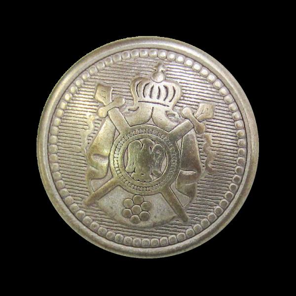 Edler Metall Wappen Knopf mit Krone, Schwert & Adler