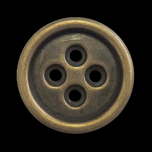 www.Knopfparadies.de - z454me - Einfache Vierlochknöpfe aus Metall in Altmessing