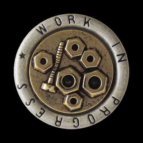 www.Knopfparadies.de - 5065sg - Goldsilberne Ösen Metallknöpfe mit Schrauben und Muttern